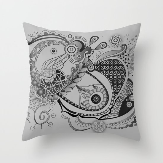 Ornate spring tangle, charcoal grey Throw Pillow