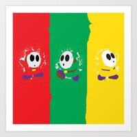 Shy Guy Tri-Guy Design Art Print