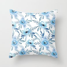 Blue Roses. Watercolor Throw Pillow
