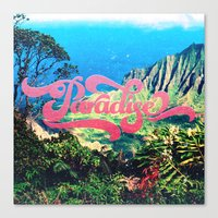 Pink Teal Retro Paradise Vintage Style Photography Canvas Print