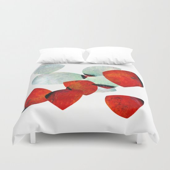 composition in red and grey Duvet Cover