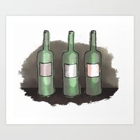 Three Bottles of Wine on the Wall Art Print