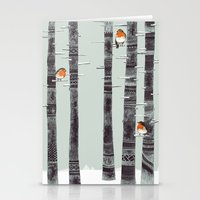 winter Stationery Cards featuring Robin Trees by Sandra Dieckmann