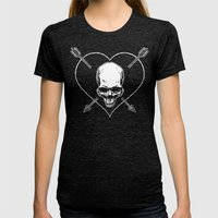 Eros & Thanatos (Jolly Roger Black Flag) Womens Fitted Tee Tri-Black SMALL