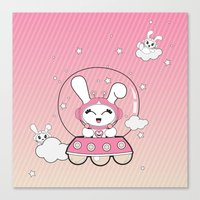 Space Bunny Flying Canvas Print