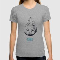 Astronaut on the moon. Womens Fitted Tee Athletic Grey SMALL