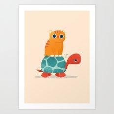 Fat Cat Rides a Turtle Art Print