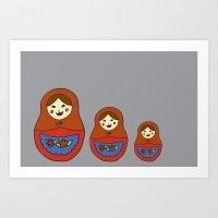 3 Matroyshkas Art Print