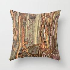 Worm Eaten Wood Throw Pillow