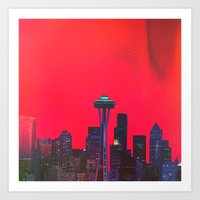seattle Art Prints featuring Seattle. by Daniel Montero