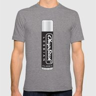 CHAPSTICK LESBIAN Mens Fitted Tee Tri-Grey SMALL