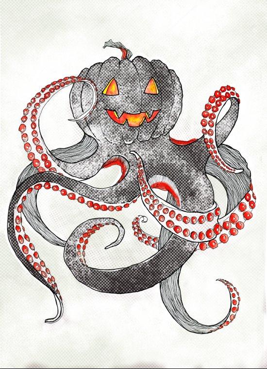 Halloween octopus Art Print