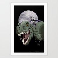 Dinosaur Attack! Art Print