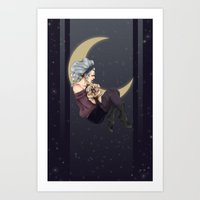 Witch and her Familiar Art Print