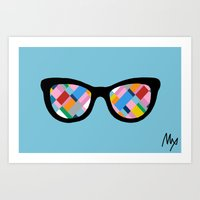 Map 45 Glasses on Sky Blue Art Print