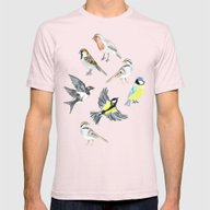 Illustrated Birds Mens Fitted Tee Light Pink SMALL