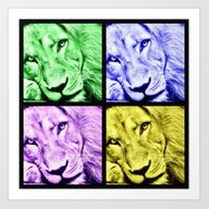 Art Print featuring Lion Face Collage - Blac… by DaddyDan360