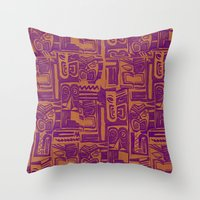 tribal pattern in purple and yellow Throw Pillow