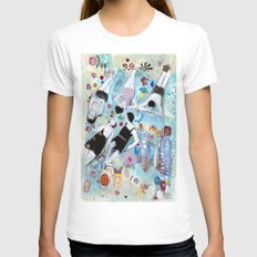 ON THE BEACH Womens Fitted Tee White SMALL