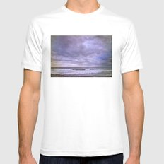 Purple sunset at the beach SMALL Mens Fitted Tee White