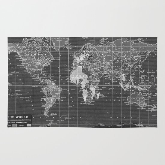 World Map Throw Rug: Black And White Vintage World Map Rug By Catherine
