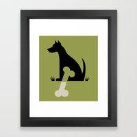 Gave A Dog A Bone (Green… Framed Art Print