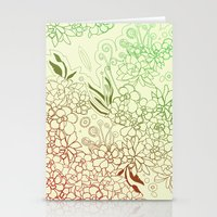 Succulents, red and green Stationery Cards