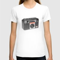 Retro Camera Womens Fitted Tee White SMALL
