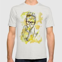 Silent Girl By Carograph… Mens Fitted Tee Silver SMALL