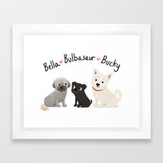 Custom Dog Art- Bella, Bulb, Bucky Framed Art Print