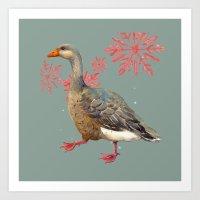 Festive Goose, Nordic, S… Art Print