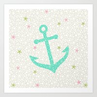 Starfish Anchors - Pearl Art Print