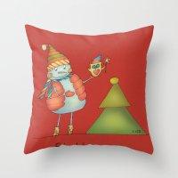Friends Keep Warm - Red Throw Pillow