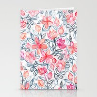Coral and Grey Candy Striped Crayon Floral Stationery Cards