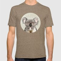 A baby koala with glasses on a rustic background Mens Fitted Tee Tri-Coffee SMALL