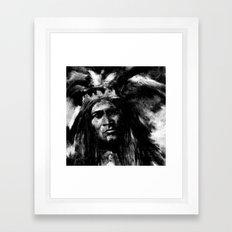 Primal - B&W Portrait of Native American Framed Art Print