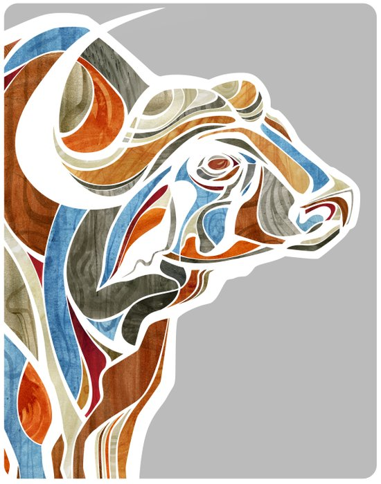 Cape Buffalo (technicolor) Art Print