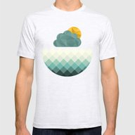Sea Polygons Mens Fitted Tee Ash Grey MEDIUM