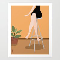 Girl on Stool Art Print