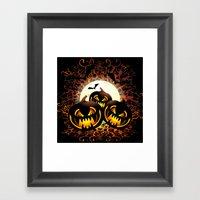 Black Pumpkins Halloween Night Framed Art Print