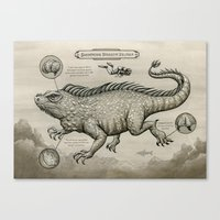 Swimming Dragon Iguana Canvas Print