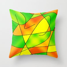 ABSTRACT CURVES #2 (Greens, Oranges & Yellows) Throw Pillow