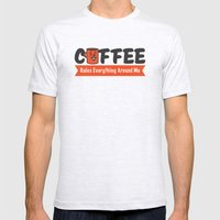 Coffee Rules Everything … Mens Fitted Tee Ash Grey SMALL