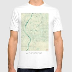 Albuquerque Map Blue Vintage Mens Fitted Tee SMALL White