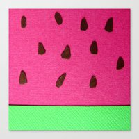 Watermelon Papercut Canvas Print
