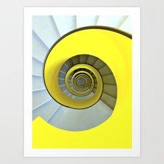 Yellow spiral staircase geneva Art Print