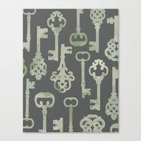 Canvas Print featuring Skeleton Key Pattern in Gray by Elephant Trunk Studio