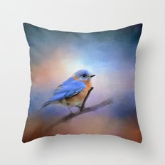The Happiest Blue - Bluebird Throw Pillow