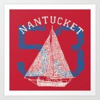 Nantucket Beaches Sailbo… Art Print