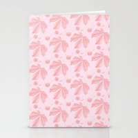 Horse Chestnut leaf and conker pale pink pattern Stationery Cards